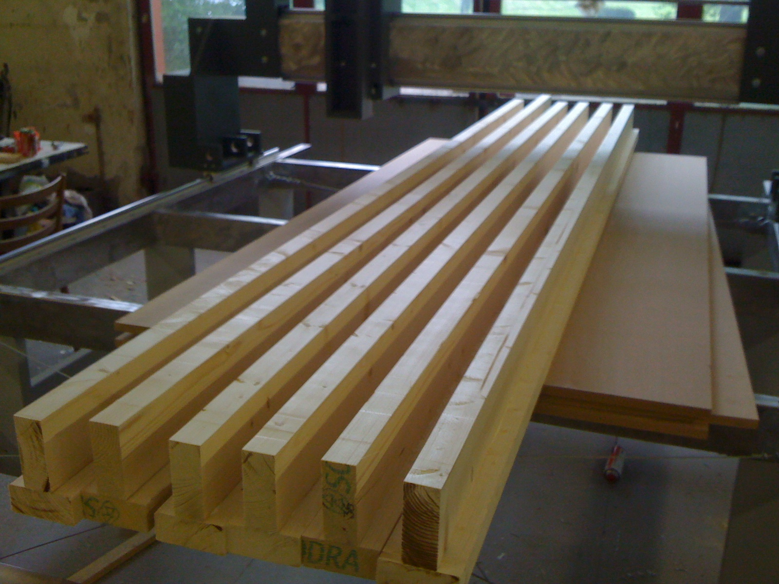 These I-beams were used to stabilize the cutting surface