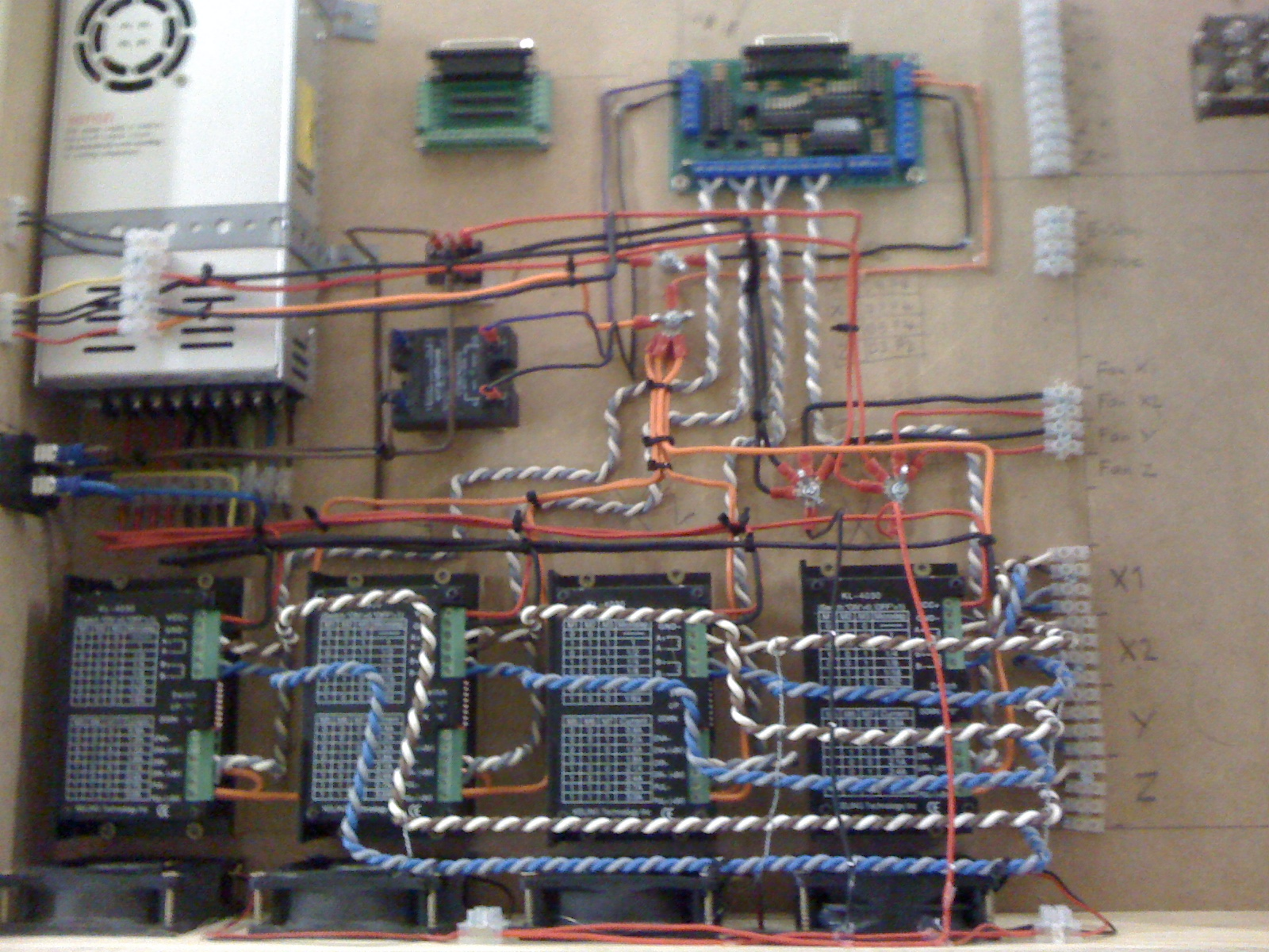Electronics box with the stepper and spindle controllers
